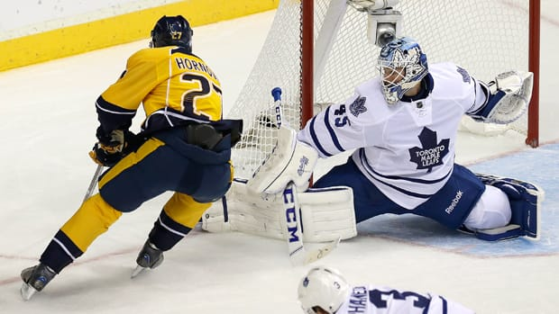 Toronto Maple Leafs goalie Jonathan Bernier (45) recorded his seventh career shutout in a 36-save performance against the Nashville Predators on Thursday. (Mark Humphrey/Associated Press)