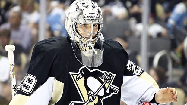 Goalie Marc-Andre Fleury is off to an excellent start for Pittsburgh. (Justin K. Aller/Getty Images)