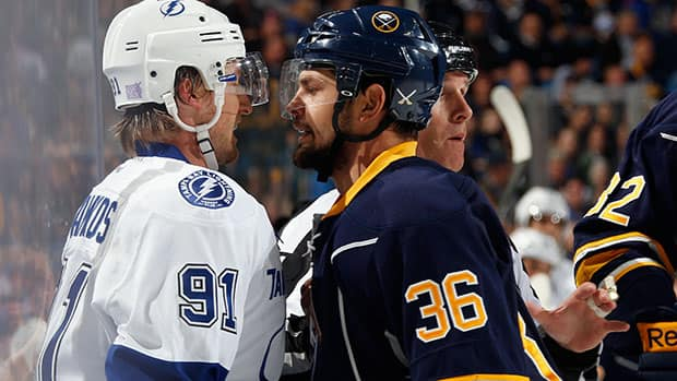 Sabres forward Patrick Kaleta, right, has made a career of agitating opponents, but he's often run afoul of NHL rules. (Jen Fuller/Getty Images)