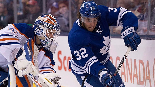 Rookie Maple Leaf forwards like Josh Leivo, right, and David Broll, are just getting their feet wet in the NHL, so they are not likely to control the puck down low in the offensive zone for long periods of time the way experienced players like Daivd Clarkson and Nikolia Kulemin can, writes CBCSports.ca's Mike Brophy.