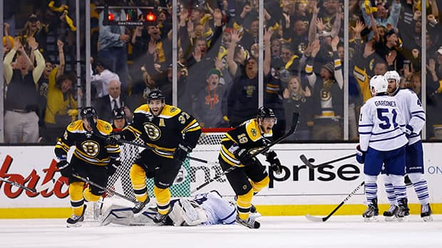 The Boston Bruins celebrate following Patrice Bergeron's game-winning overtime goal against the Toronto Maple Leafs in Game Seven of the Eastern Conference Quarter-finals last season on May 13, 2013 at TD Garden in Boston, Massachusetts. (Jared Wickerham/Getty Images)