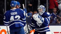 Jonathan Bernier (45) of the Toronto Maple Leafs celebrates a 2-1 shootout victory over the New Jersey Devils  at the Air Canada Centre on Thursday. (Bruce Bennett/Getty Images)