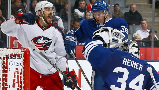 Nick Foligno of the Blue Jackets reacts to a goal by teammate Ryan Murray, unseen, in a 6-0 victory over the Leafs on Monday. (Abelimages/Getty Images)