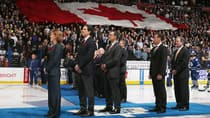 Geraldine Heaney, Brendan Shanahan, Scott Niedermayer, Chris Chelios and Penguins GM Ray Shero, son of late inductee Fred Shero, are honoured Saturday prior to the Devils-Leafs game at Toronto's Air Canada Centre. (Bruce Bennett/Getty Images)
