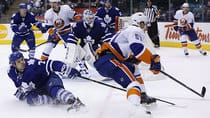 Toronto was again sloppy against the Islanders on Tuesday night, but came out with the win thanks to another strong goaltending performance by Jonathan Bernier. (Mark Blinch/Canadian Press)
