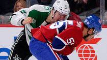Montreal's Francis Bouillon, right, and Dallas' Antoine Roussel kept their buckets on during their tilt this week. (Richard Wolowicz/Getty Images)