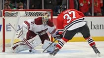 Brandon Pirri (37) of the Blackhawks scores the shootout winner on Mike Smith in a 5-4 victory over visiting Coyotes on Nov. 14. (Jonathan Daniel/Getty Images)