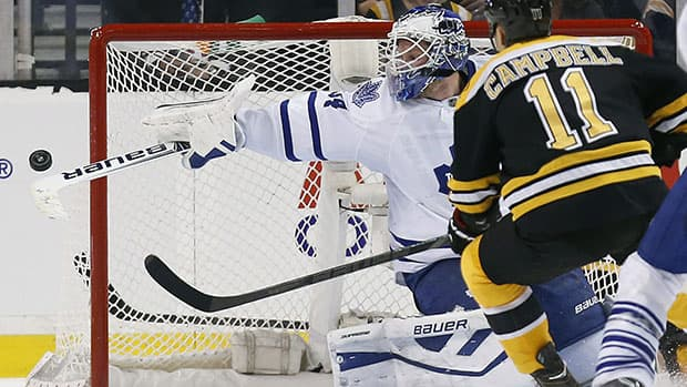 After stopping 31 of the 33 shots he faced in Saturday's 3-1 loss to Boston, Leafs goalie James Reimer boasts a sparkling .942 save percentage this season. (Michael Dwyer/Associated Press)