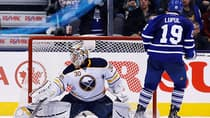 Toronto Maple Leafs' Joffrey Lupul scores the game winning goal on Buffalo Sabres goalie Ryan Miller, left, during the shootout on Friday. (Mark Blinch/Canadian Press)