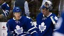 Toronto Maple Leafs goaltender James Reimer (34) and defenceman Carl Gunnarsson (36) come off the bench following the Leafs' 3-1 loss to the Florida Panthers on Tuesday. (Frank Gunn/Canadian Press)