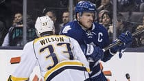 With a pair of goals this season, Dion Phaneuf, right, has accounted for two-thirds of the scoring by Toronto blue-liners. (Chris Young/Canadian Press)