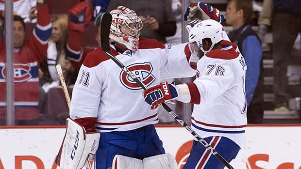 Goalie Carey Price, right, and defenceman P.K. Subban have Montreal contending for the Atlantic Division title. (Photo by Rich Lam/Getty Images)