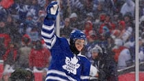 Toronto Maple Leafs centre Tyler Bozak (42) celebrates after scoring the game-winning goal in the shootout of the 2014 Winter Classic against the Detroit Red Wings at Michigan Stadium on Wednesday. (Rick Osentoski/USA TODAY Sports/Reuters)