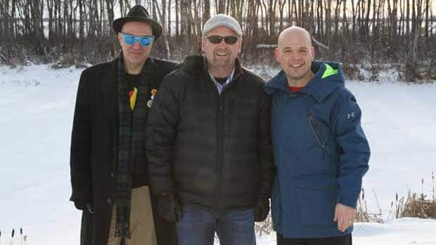Former NHLer Wendel Clark, centre, travelled to his hometown of Kelvington, Sask., with Dave Bidini, left, and Greg Schull to rediscover his roots leading up to Hockey Day in Canada. (Mike Alderson/CBC Sports)