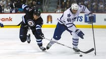 Toronto Maple Leafs forward Troy Bodie (40) eludes Winnipeg Jets forward Blake Wheeler (26) in the first period of Toronto's 5-4 overtime loss on Saturday. (Shawn Coates/USA TODAY Sports/Reuters)