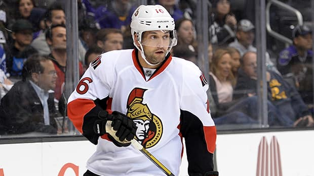 Clarke MacArthur of the Ottawa Senators during a game against the Los Angeles Kings at Staples Center on October 9, 2013 in Los Angeles, California. (Harry How/Getty Images)