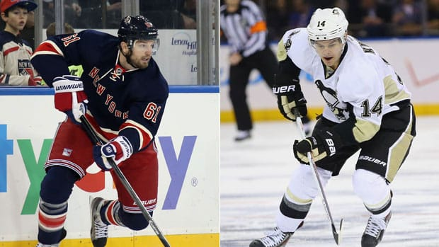 Players like New York Rangers forward Rick Nash and Pittsburgh Penguins winger Chris Kunitz aren't sure bets to make the Canadian Olympic squad. (Getty Images/CBCSports.ca)