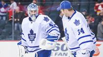 Jonathan Bernier, left, and James Reimer of the Toronto Maple Leafs after a game against the Calgary Flames at Scotiabank Saddledome on October 30, 2013 in Calgary. (Derek Leung/Getty Images)