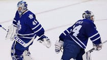 Maple Leaf fans have seen too much of this lately, with goalies Jonathan Bernier, left, and James Reimer, right, getting the hook in games. With a playoff spot now in jeopardy, says CBCSports.ca hockey writer Mike Brophy, the goaltending has fallen off. (Mark Blinch/Canadian Press)