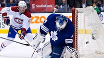 Toronto Maple Leafs goalie James Reimer, right, lets in a shot by Montreal Canadiens' Tomas Plekanec, not shown, as Canadiens forward Alex Galchenyuk, left, looks on during the third period Saturday. (Nathan Denette/Canadian Press)