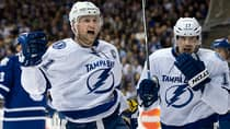 Tampa Bay Lightning centre Steve Stamkos, left, celebrates his second goal of the period with teammate Alex Killorn during the first period against the Toronto Maple Leafs on Wednesday. (Frank Gunn/Canadian Press)