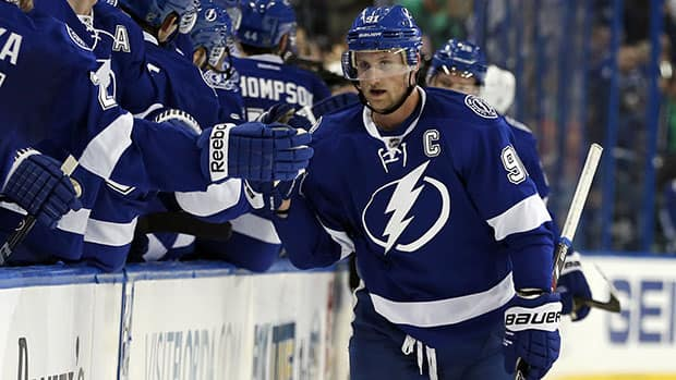 Back from a 35-game absence caused by a broken leg, Tampa star Steven Stamkos is adjusting to life without his old running mate, Martin St. Louis. (Mike Carlson/Getty Images)