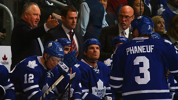 Maple Leafs head coach Randy Carlyle, top left, addressed the media on Tuesday, and talked about where he thinks the team's 2013-14 campaign went wrong. (File/Getty Images)