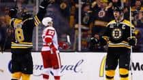 Zdeno Chara celebrates Boston's second goal on Saturday, with defensive scoring plentiful for the Bruins in their first round win over Detroit. (Jared Wickerham/Getty Images)