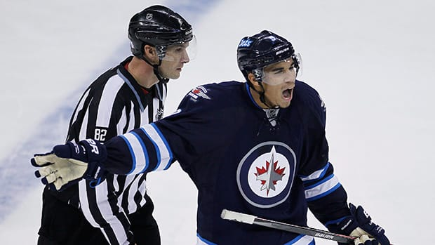 Evander Kane, right, has 17 goals and 39 points in 60 games for the Winnipeg Jets this season. (File/Canadian Press)