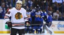 Patrick Kane of Chicago can only wince as the Blackhawks for the second time were moments from victory, only to lose in St. Louis. (Dilip Vishwanat/Getty Images)