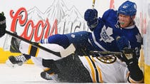 James van Riemsdyk and the Leafs topped Patrice Bergeron's Bruins on Thursday night to snap an eight-game losing streak. (Abelimages/Getty Images)