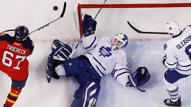 Maple Leafs coach Randy Carlyle was disappointed with the lack of support his players afforded goalie Drew MacIntyre, who was making his first-ever NHL start Thursday in Florida.