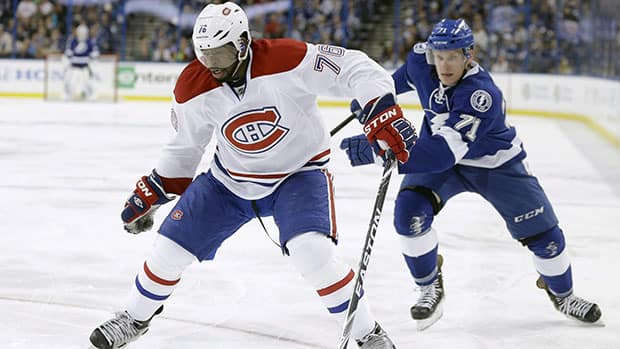 Montreal Canadiens defenceman P.K. Subban registered two assists against the Tampa Bay Lightning Friday night. (Chris O'Meara/Associated Press)