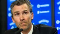 Trevor Linden answers questions during a press conference where he was named the Vancouver Canucks new president of hockey operations on Wednesday at Rogers Arena. (Rich Lam/Getty Images)