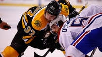 Patrice Bergeron, left, and the Bruins are favoured to beat David Desharnais's Canadiens, but that means little in a one-game showdown. (Jared Wickerham/Getty Images)