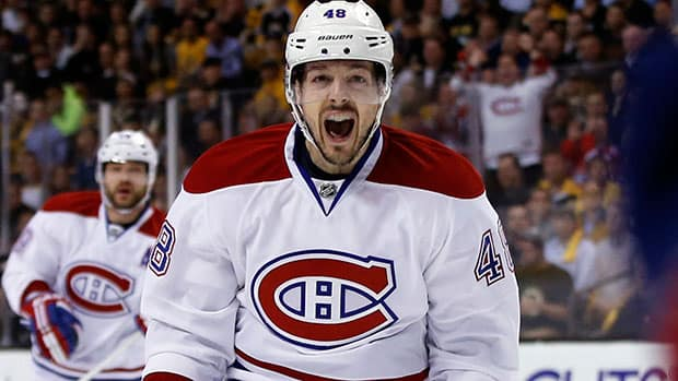 Montreal Canadiens centre Daniel Briere came alive Wednesday night against the Boston Bruins, scoring a goal adding an assist. (Elise Amendola/Associated Press)