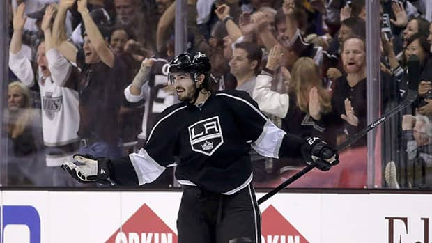 Los Angeles defenceman Drew Doughty celebrates a Game 3 goal, one of his five points during the Kings' three-game winning streak. (Chris Carlson/Associated Press)