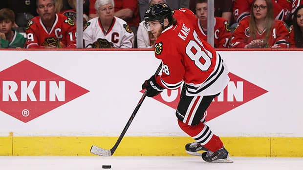 Patrick Kane's four assists in Game 5 against Los Angeles gave the Chicago star 15 points in 17 playoff contests this year. (Jonathan Daniel/Getty Images)