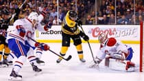 Montreal Canadiens netminder Carey Price (31) foils forward Patrice Bergeron (37) in a 4-3 victory over the Boston Bruins in double overtime in Game 1 of their Eastern Conference semifinal at TD Garden on Thursday. (Jared Wickerham/Getty Images)