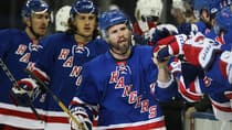 Martin St. Louis (26) of the New York Rangers celebrates scoring his first goal of the Stanley Cup playoffs on Mother's Day. (Elsa/Getty Images)