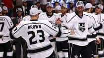Captain Dustin Brown, left, and Jeff Carter are key players in L.A.'s run to the Cup final. (Jonathan Daniel/Getty Images)