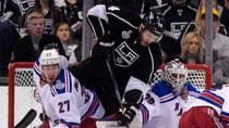 Dwight King of Los Angeles gets between New York defenceman Ryan McDonagh and goalie Henrik Lundqvist. (Mark J. Terrill/Associated Press)
