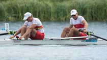 Canada's Scott Frandsen, left, and Dave Calder finished sixth in the men's pairs rowing event in London after winning a silver in Beijing. (Sean Kilpatrick/Canadian Press)