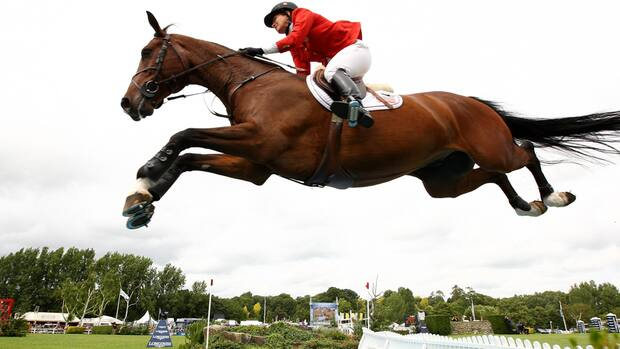 Beezie Madden of the United States took home the $66,000 first prize in the ATCO Power Queen Elizabeth II Cup on Saturday.  (Phil Cole/Getty Images)