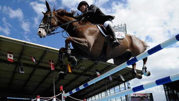 Great Britain's Michael Whitaker rode Viking to a CANA Cup victory at Spruce Meadows.  (Dennis Grombkowski/Getty Images)