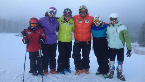 Kelly VanderBeek, third from left, skied some training runs recently with a group in Panorama, B.C., that also included Canadian men's team member Manuel Osborne-Paradis, fourth from left.