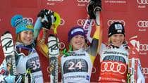 Canada's Erin Mielzinski, centre, celebrates her first World Cup victory with runner-up Resi Stiegler, left, and third-place finisher Marlies Schild. (Kelly VanderBeek)