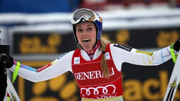 American skier Lindsey Vonn celebrates her women's downhill win on Saturday at Lake Louise, Alta.