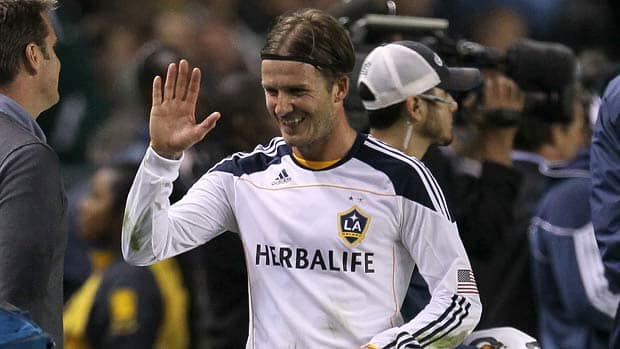 David Beckham of the Los Angeles Galaxy, pictured here during the MLS Western Conference Championship against Real Salt Lake, could play in his last match in the upcoming MLS Cup. (Stephen Dunn/Getty Images)