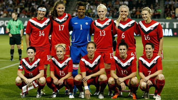 Members of the Canadian women's soccer team pose for a pre-game photo before an exhibition game against the United States in September. Canada and the U.S. are the favourites to earn Olympic berths at the CONCACAF qualifying tournament Jan. 19-29 in Vancouver. (Jonathan Ferrey/Getty Images)